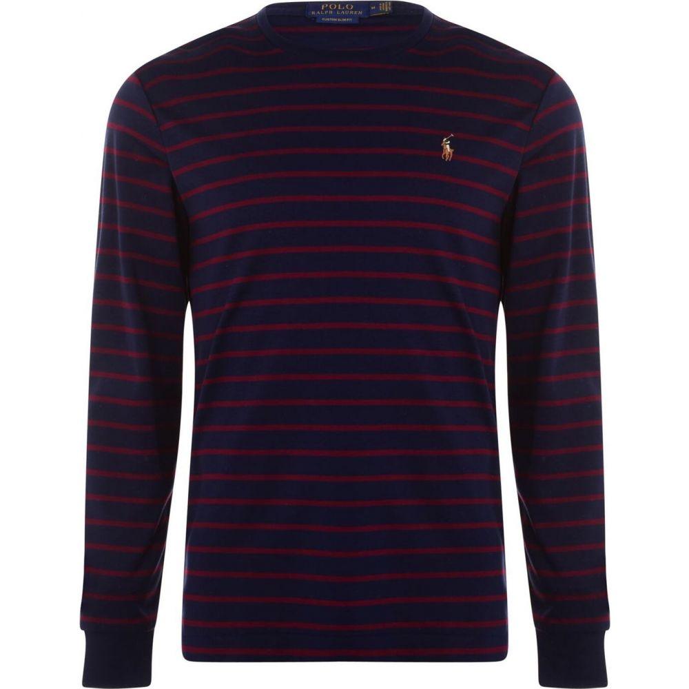 ラルフ ローレン メンズ 大規模セール トップス 長袖Tシャツ Navy Wine サイズ交換無料 Sleeve Lauren お歳暮 Ralph T-Shirt Striped Long Polo