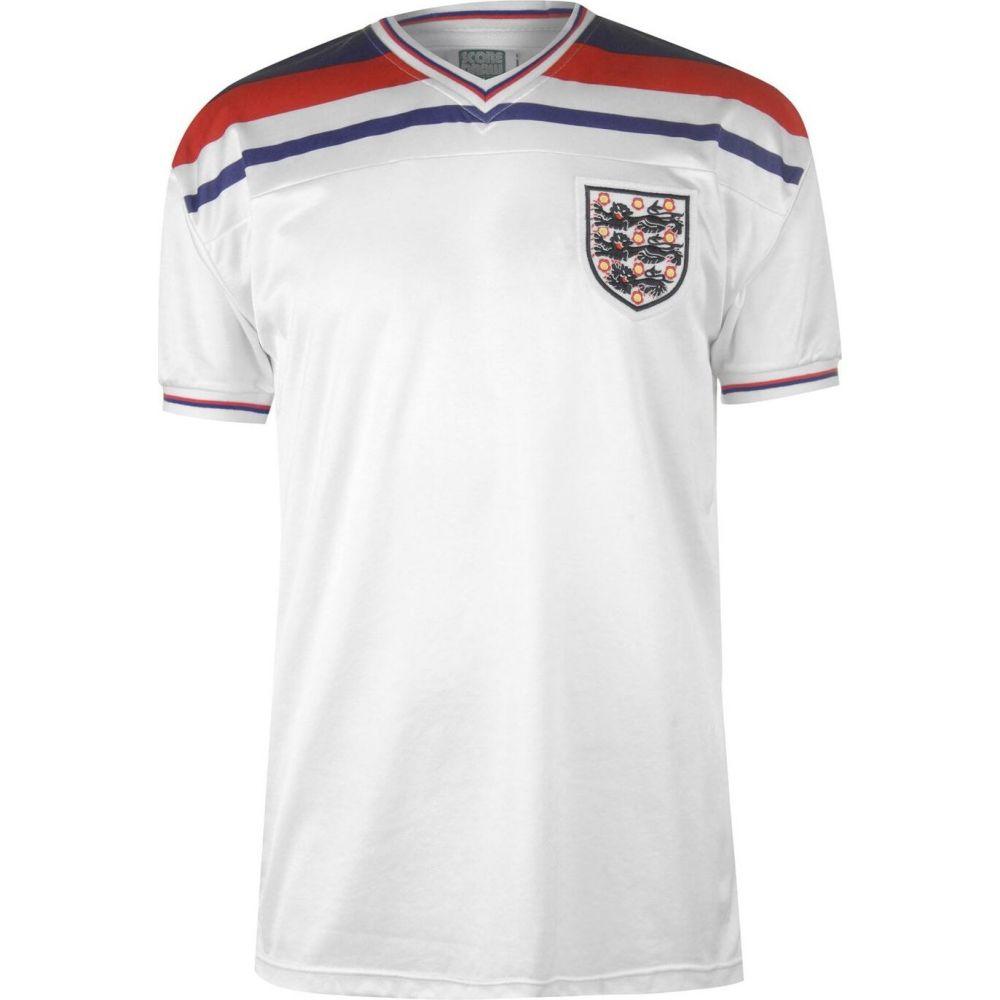 スコアドロー メンズ サッカー トップス White サイズ交換無料 Score Jersey ジャージ England 1982 Draw Home 贈り物 プレゼント