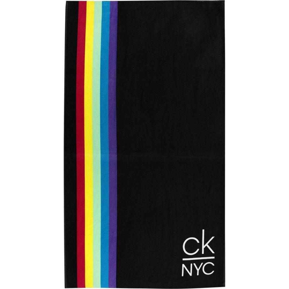 カルバンクライン メンズ 水着 ビーチウェア [並行輸入品] ビーチタオル PVH Black Logo サイズ交換無料 Klein Calvin 安全 Towel NYC