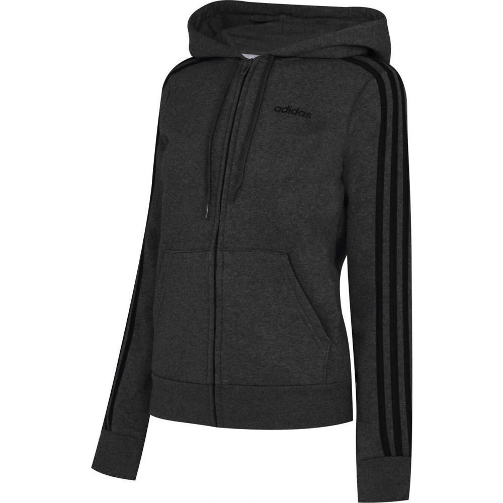 アディダス 買物 レディース トップス パーカー 即日出荷 DarkGrey Black サイズ交換無料 Hoodie Stripe adidas 3 Track Zip Fleece