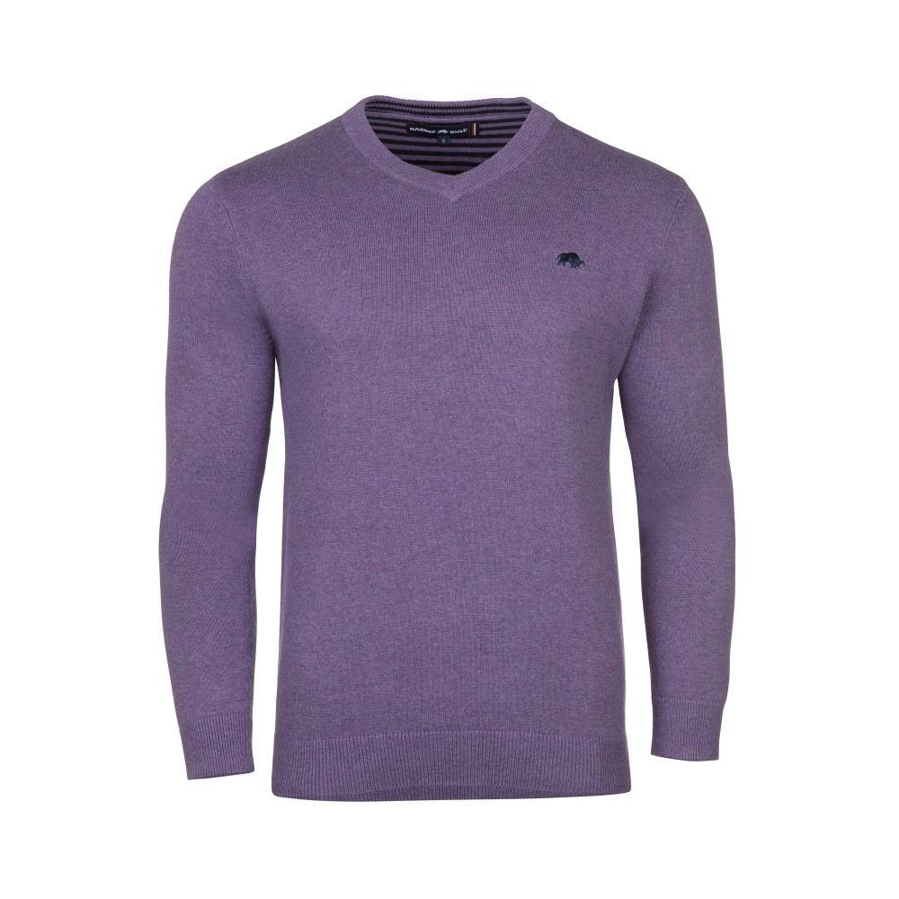 ライジング ブル メンズ トップス ニット・セーター【V-neck Cotton Cashmere Jumper】purple