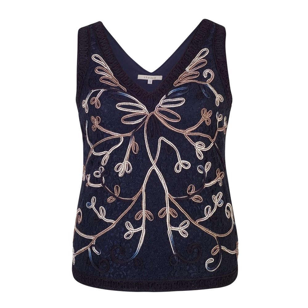 チェスカ レディース インナー・下着 スリップ・キャミソール【Ombre Cornelli Embroidered Lace Camisole】navy