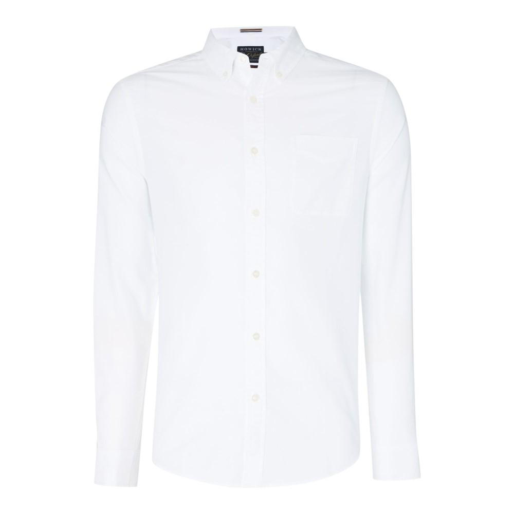 ハウィック メンズ トップス シャツ【Classic Plain Slim Fit Oxford Shirt】white
