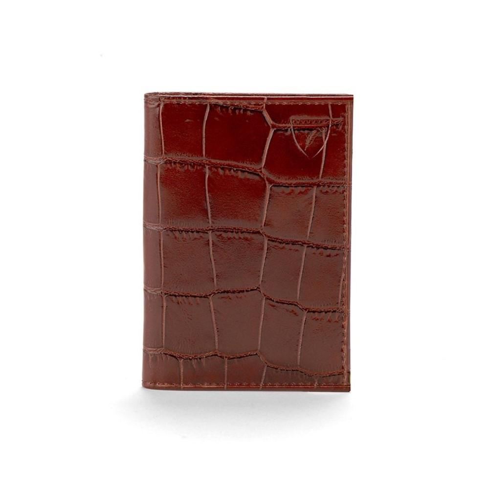 アスピナル オブ ロンドン レディース カードケース・名刺入れ【Amazon Brown Double Fold Credit Card Case】amazon brown
