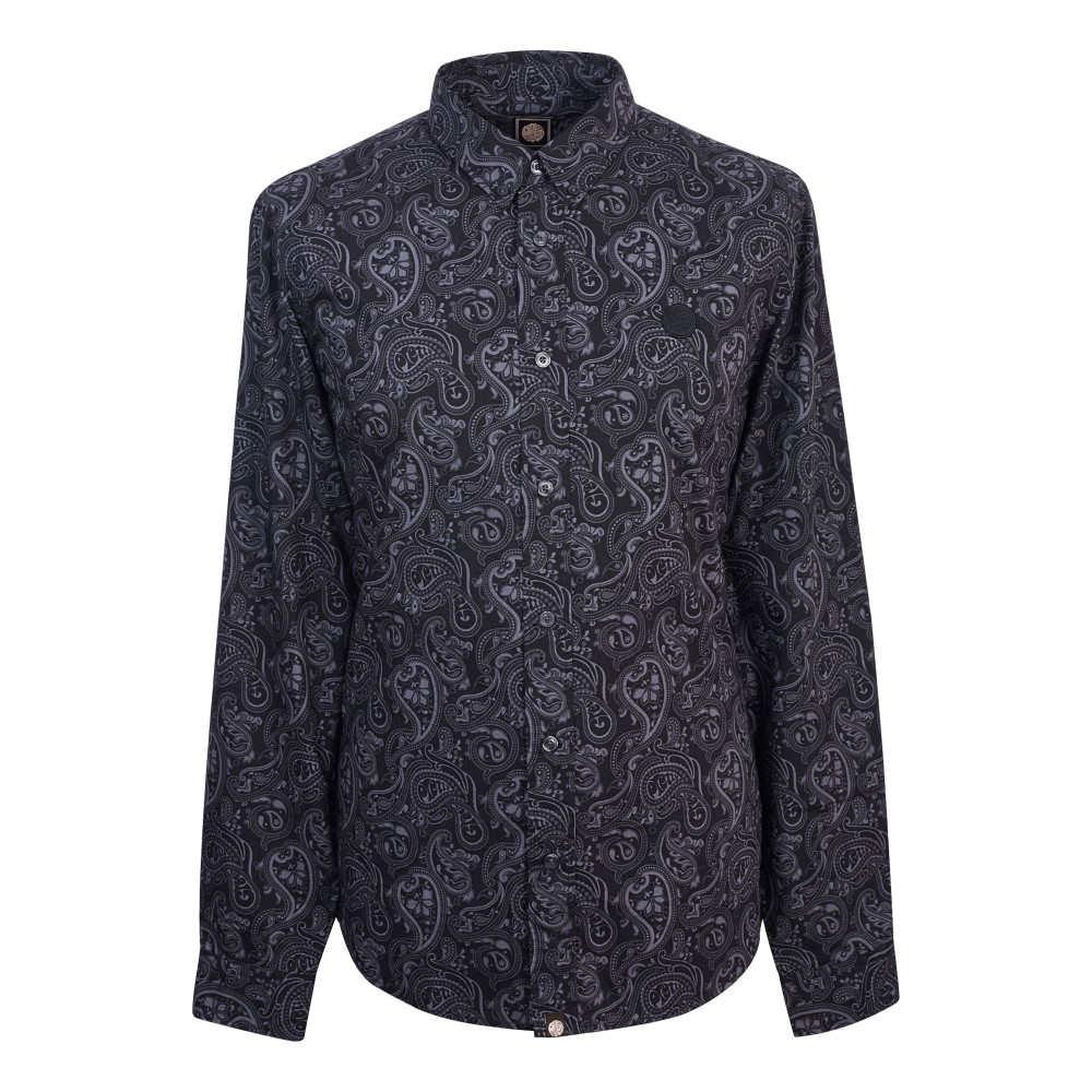 プリティー グリーン メンズ トップス【Slim Fit Paisley Print Shirt】black