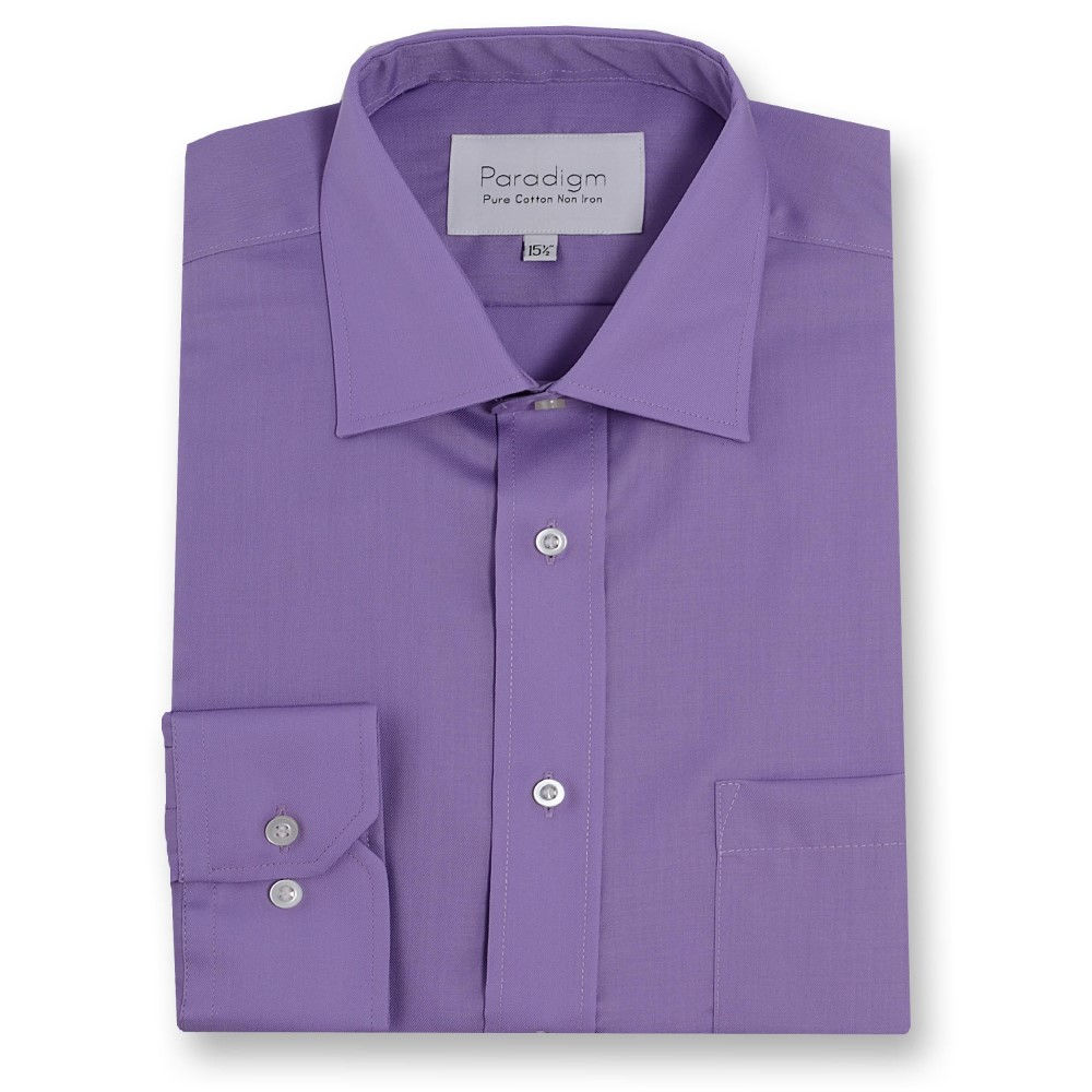 ダブルTWO メンズ トップス シャツ【Paradigm King Size Single Cuff 100% Cotton Shirt】purple