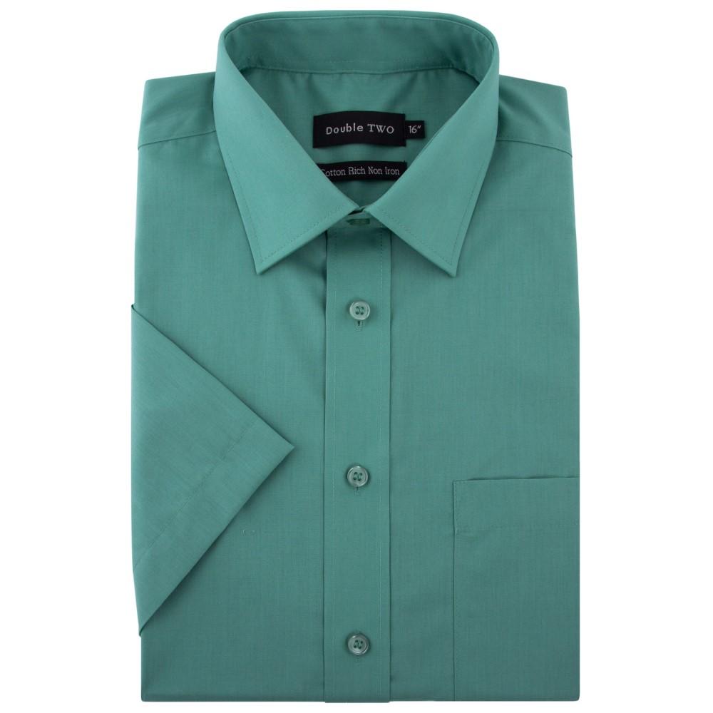ダブルTWO メンズ トップス 半袖シャツ【King Size Short Sleeved Non-iron Cotton Shirt】green