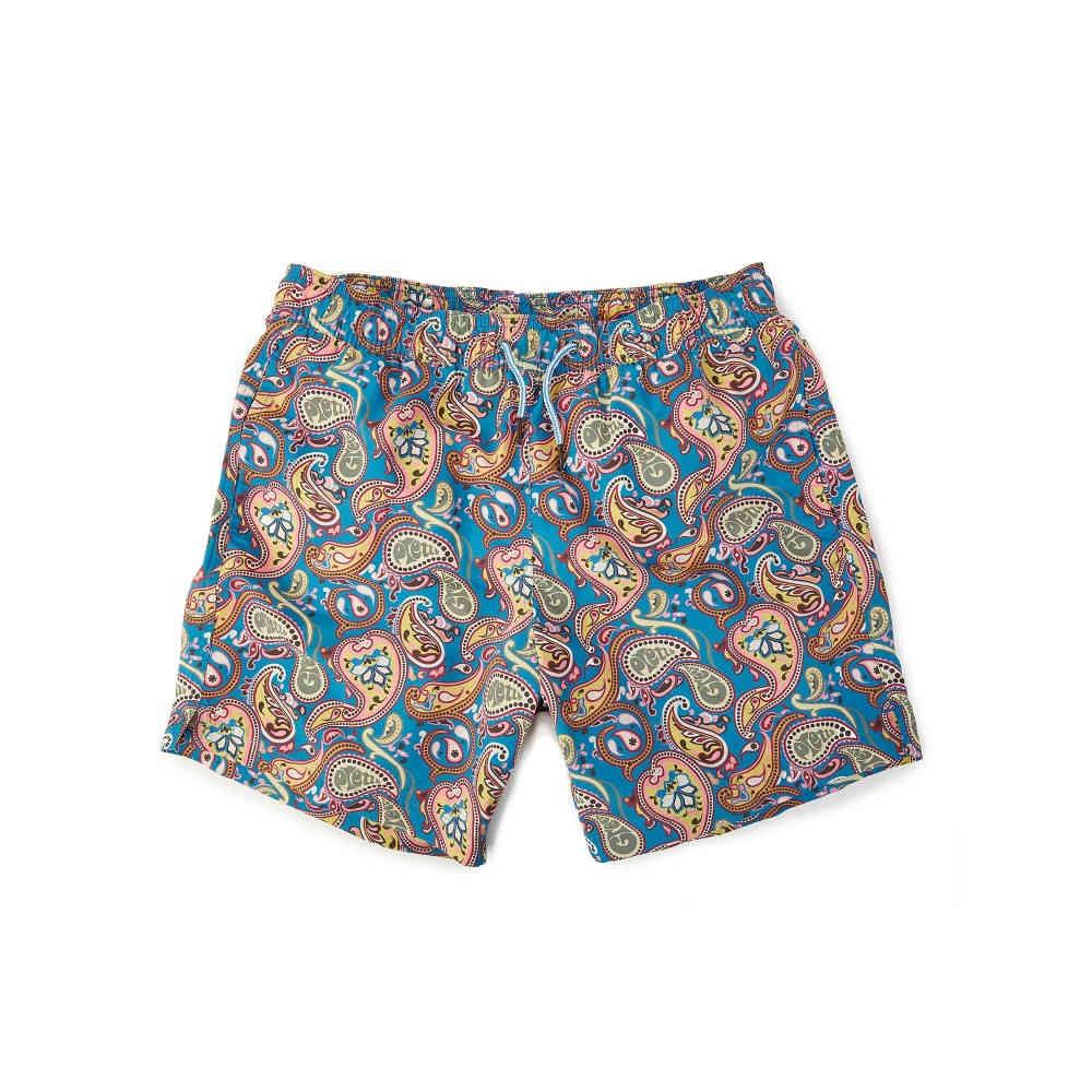 プリティー グリーン メンズ 水着・ビーチウェア 海パン【Vintage Paisley Swim Shorts】multi-coloured