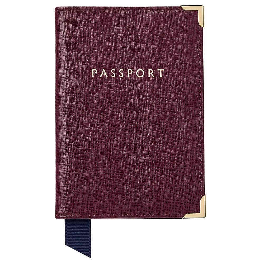 アスピナル オブ ロンドン メンズ パスポートケース【Plain Passport Cover】burgundy