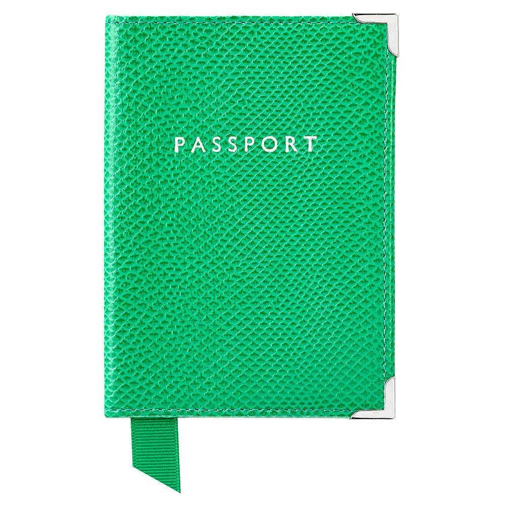 アスピナル オブ ロンドン メンズ パスポートケース【Plain Passport Cover】grass
