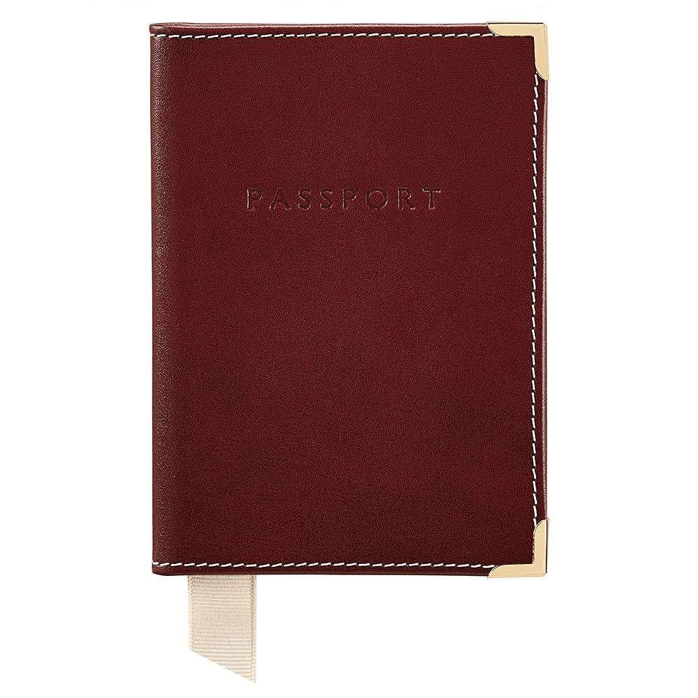アスピナル オブ ロンドン メンズ パスポートケース【Plain Passport Cover】cognac