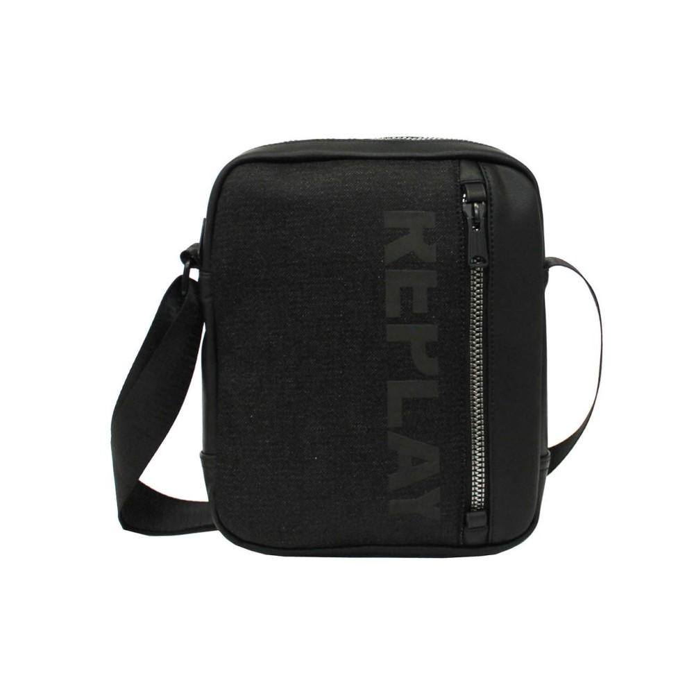 リプレイ メンズ バッグ パソコンバッグ【Faux Leather And Denim Shoulder Bag】black