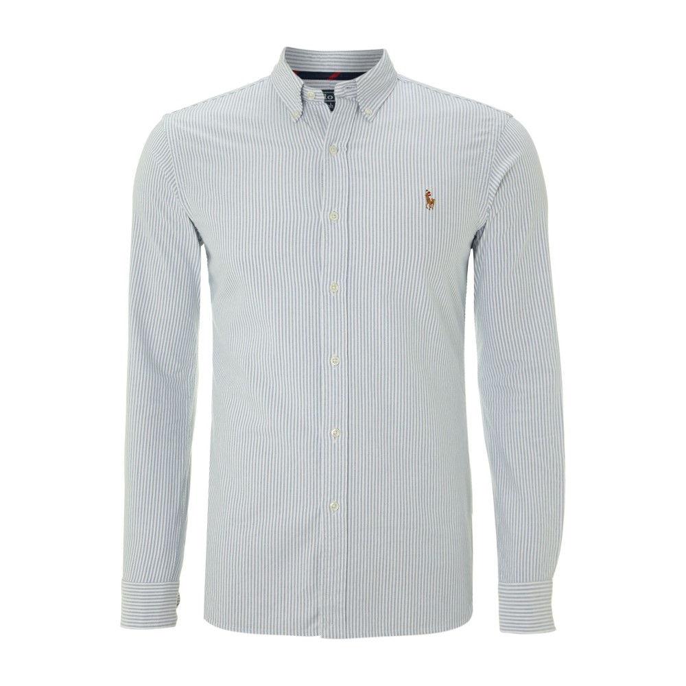 ラルフ ローレン メンズ トップス シャツ【Slim-fit Striped Oxford Shirt】light blue