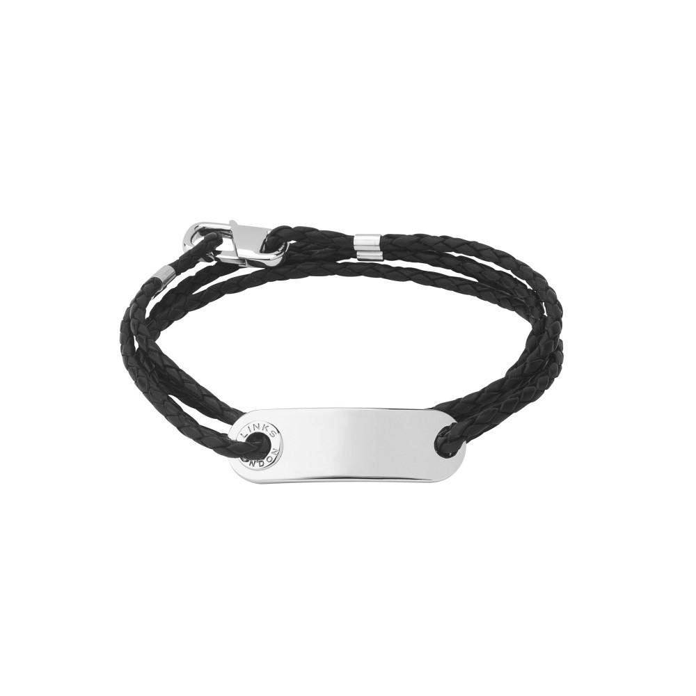 リンクス オブ ロンドン レディース ジュエリー・アクセサリー ブレスレット【Soho Id Bracelet With Leather Cord】black