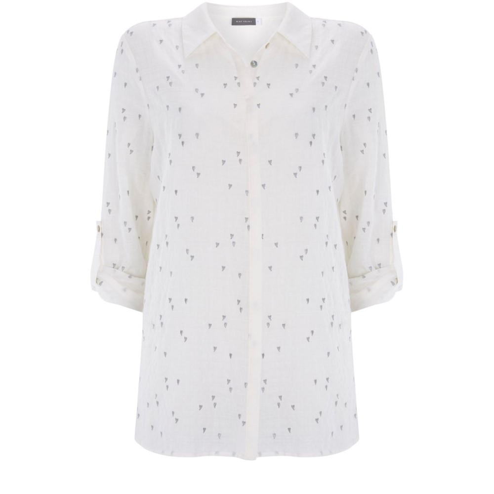 a69e0dba Deep Ruby Darwin Embroidered Cropped Button Down Shirt トップス シャツ ブラウス White/  レディース + olivia alice ...
