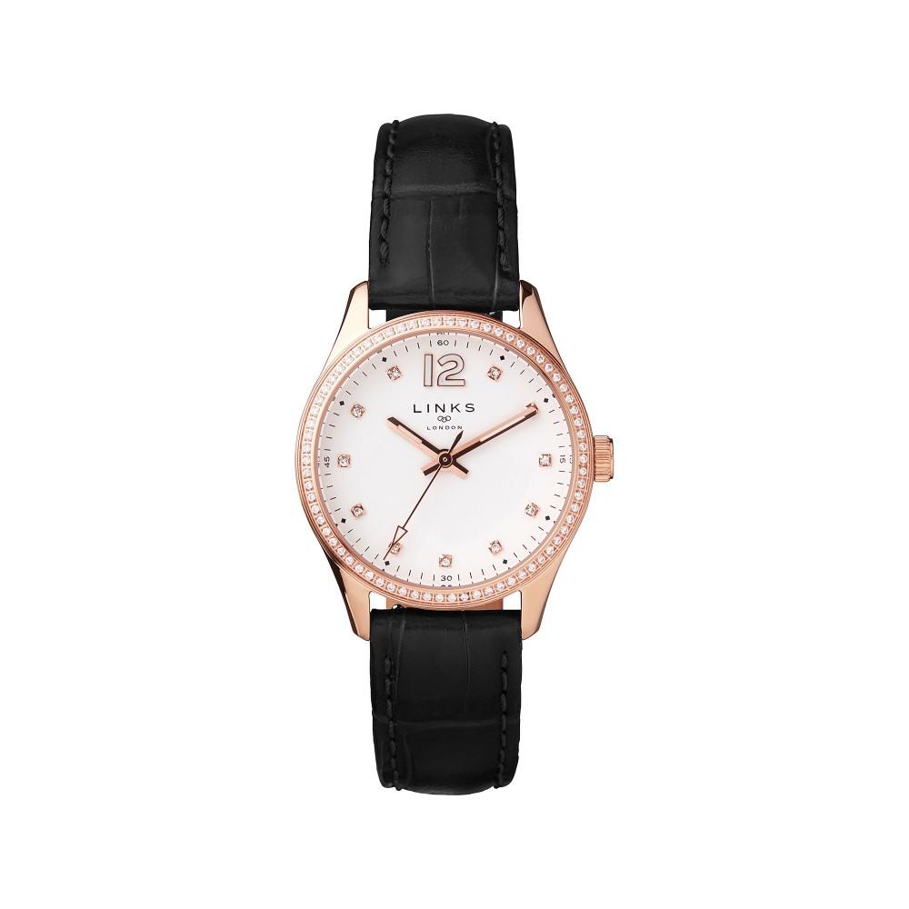 リンクス オブ ロンドン レディース 腕時計【Greenwich Noon Crystal Black Watch】black