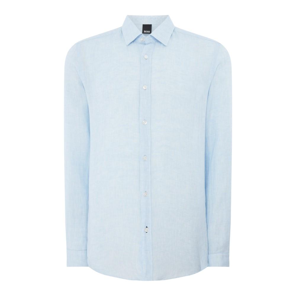 ヒューゴ ボス メンズ トップス シャツ【Lukas 53 Regular Fit Linen Shirt】sky blue