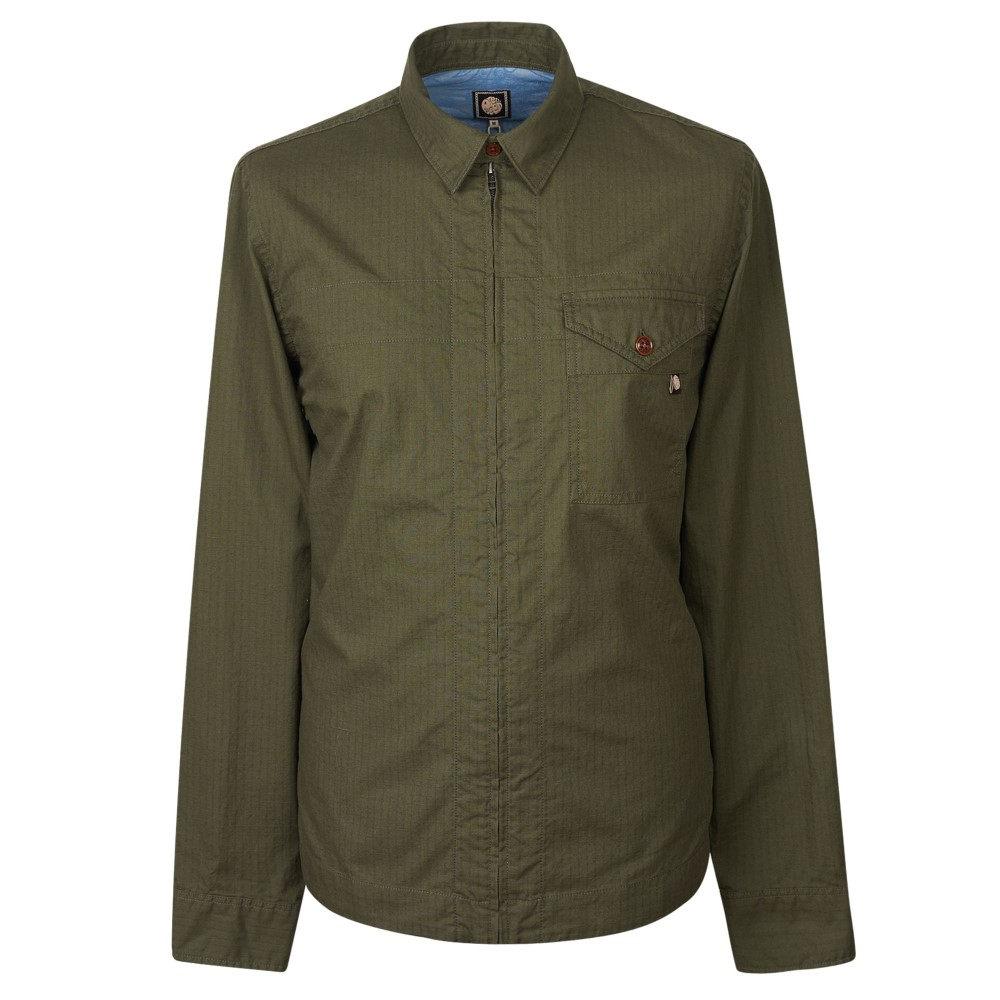 プリティー グリーン メンズ トップス シャツ【Zip Front Shirt With Back Print】khaki