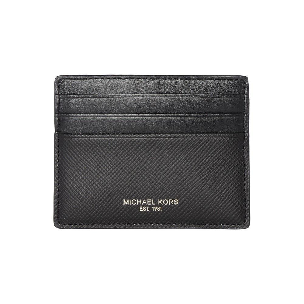 マイケル コース メンズ カードケース・名刺入れ【Harrison Saffiano Leather Card Holder】black