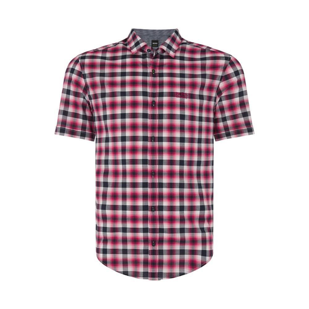 ヒューゴ ボス メンズ トップス 半袖シャツ【Barn-r Short Sleeve Check Shirt】pink