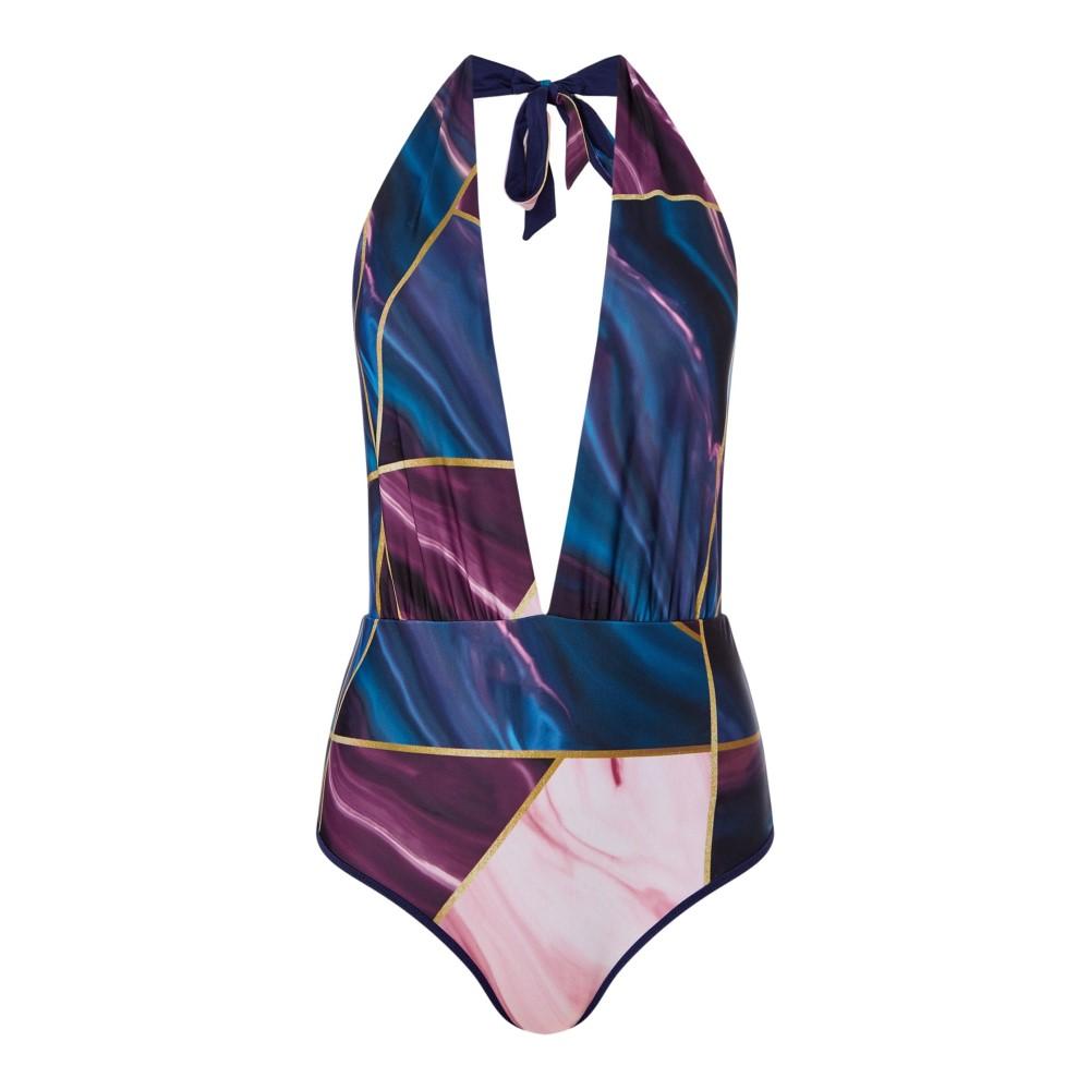 テッドベーカー レディース 水着・ビーチウェア ワンピース【Balmoral Marble Multi Tie Swimsuit】navy