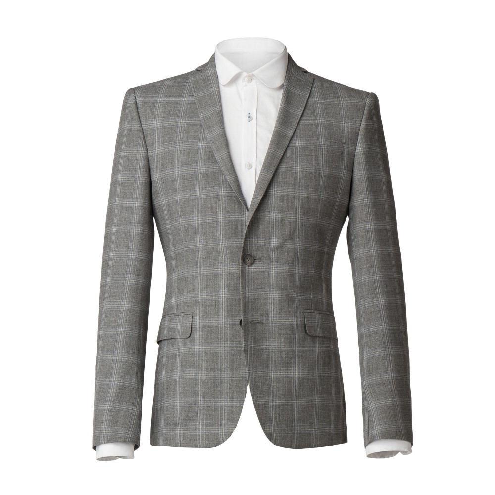 ライムハウス メンズ アウター スーツ・ジャケット【Akerman Light Grey Check Skinny Fit Jacket】grey