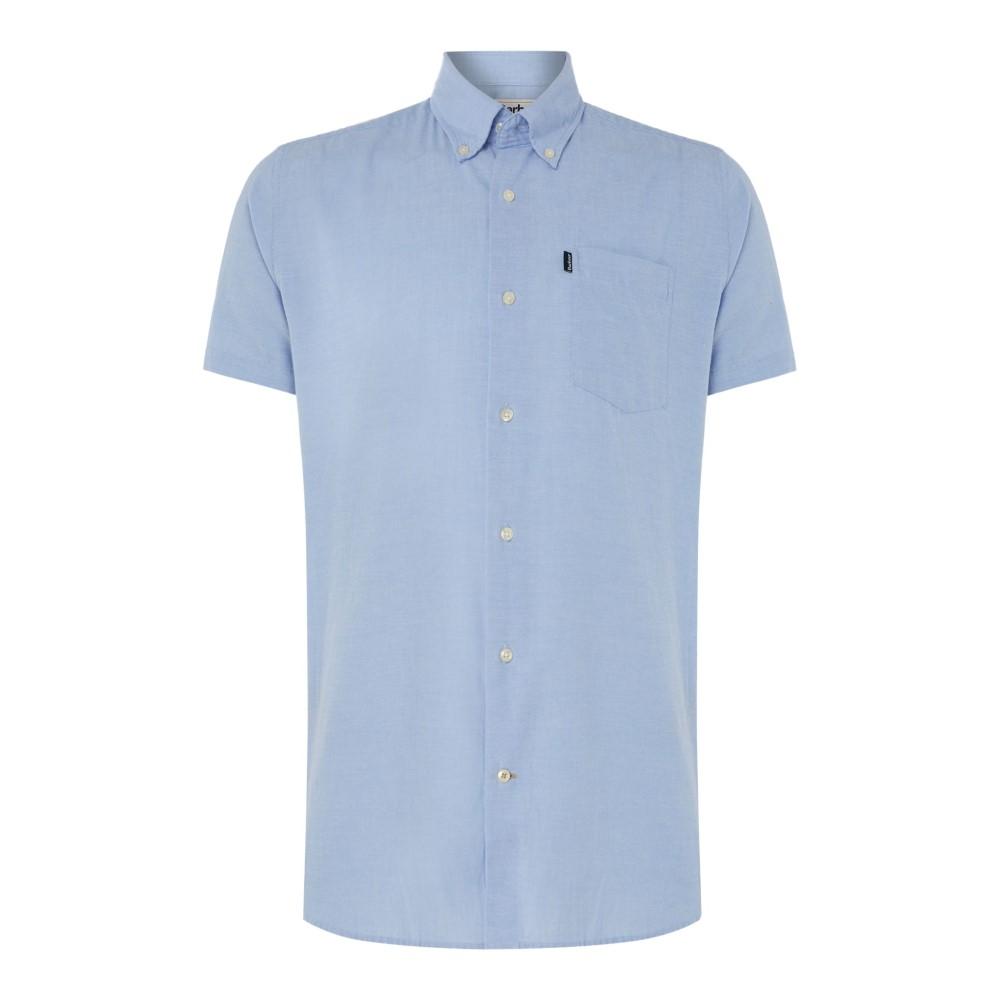 バーブァー メンズ トップス 半袖シャツ【Casey Short Sleeve Oxford Shirt】light blue
