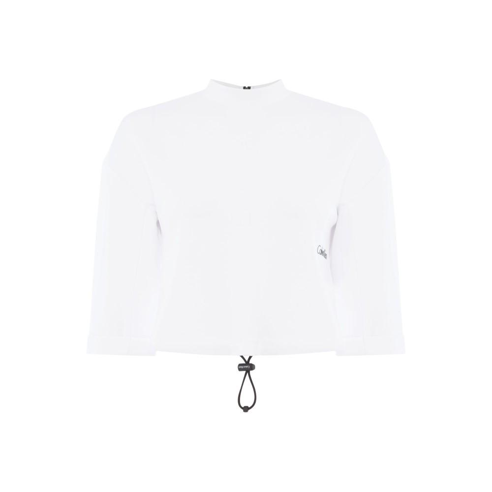 カルバンクライン レディース フィットネス・トレーニング トップス【Core Cropped Sweater】white