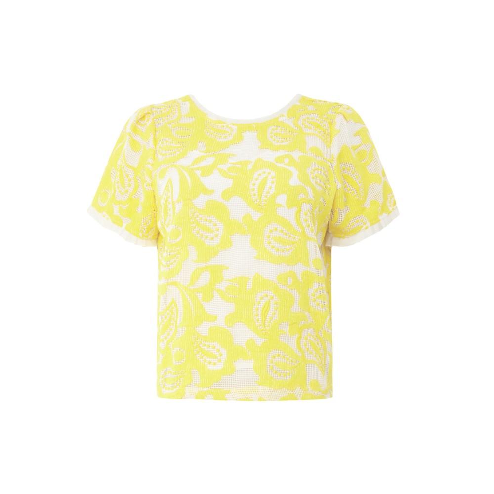 サンクー レディース トップス【Short Sleeve Floral Textured Lysandre Top】yellow