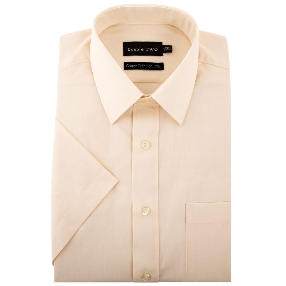 ダブルTWO メンズ トップス 半袖シャツ【Plain Short Sleeved Non-iron Cotton Rich Shirt】cream