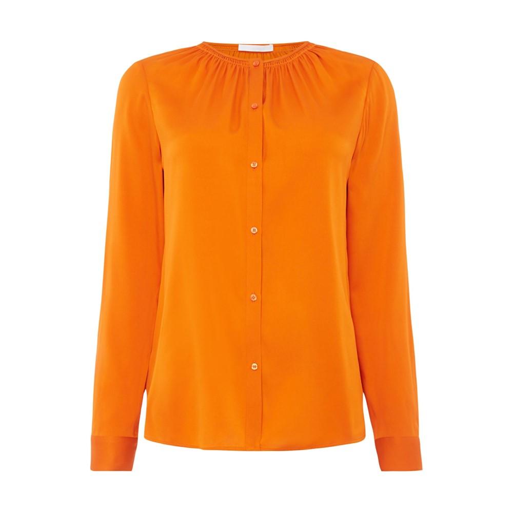 ヒューゴ ボス レディース トップス ブラウス・シャツ【Button Blouse With Ruched Neckline】orange