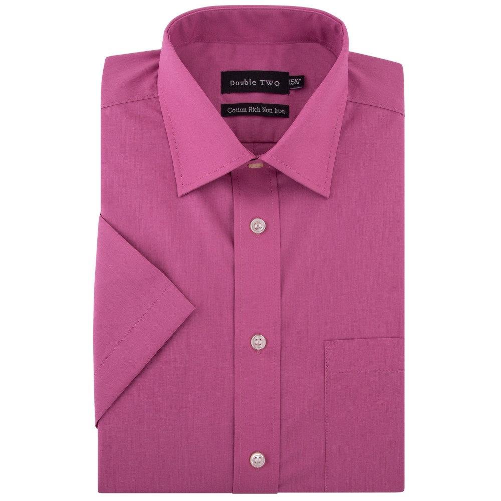 ダブルTWO メンズ トップス 半袖シャツ【Plain Short Sleeved Non-iron Cotton Rich Shirt】rose