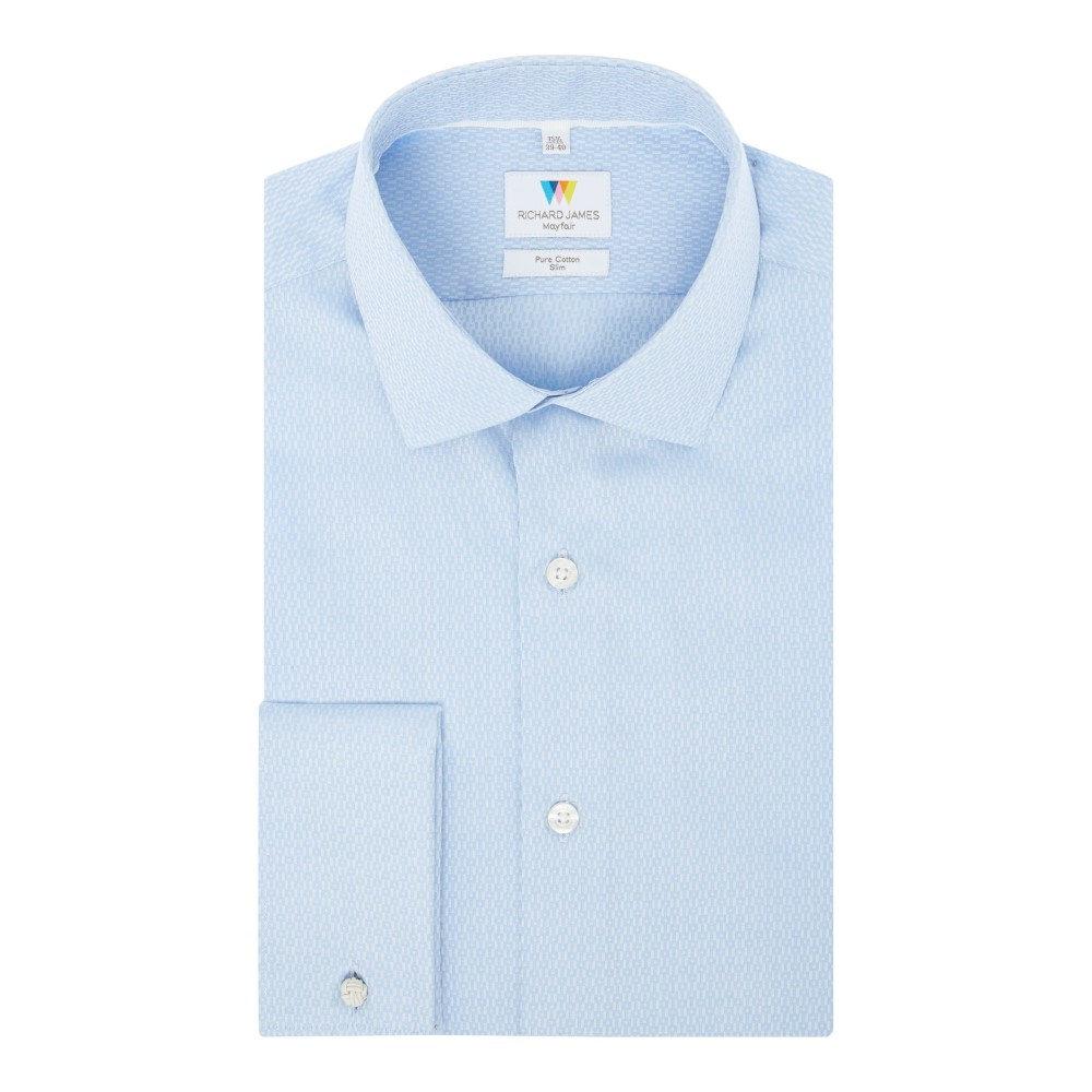 リチャード ジェームス メンズ トップス シャツ【Geometric Jacquard Slim Fit Shirt】blue