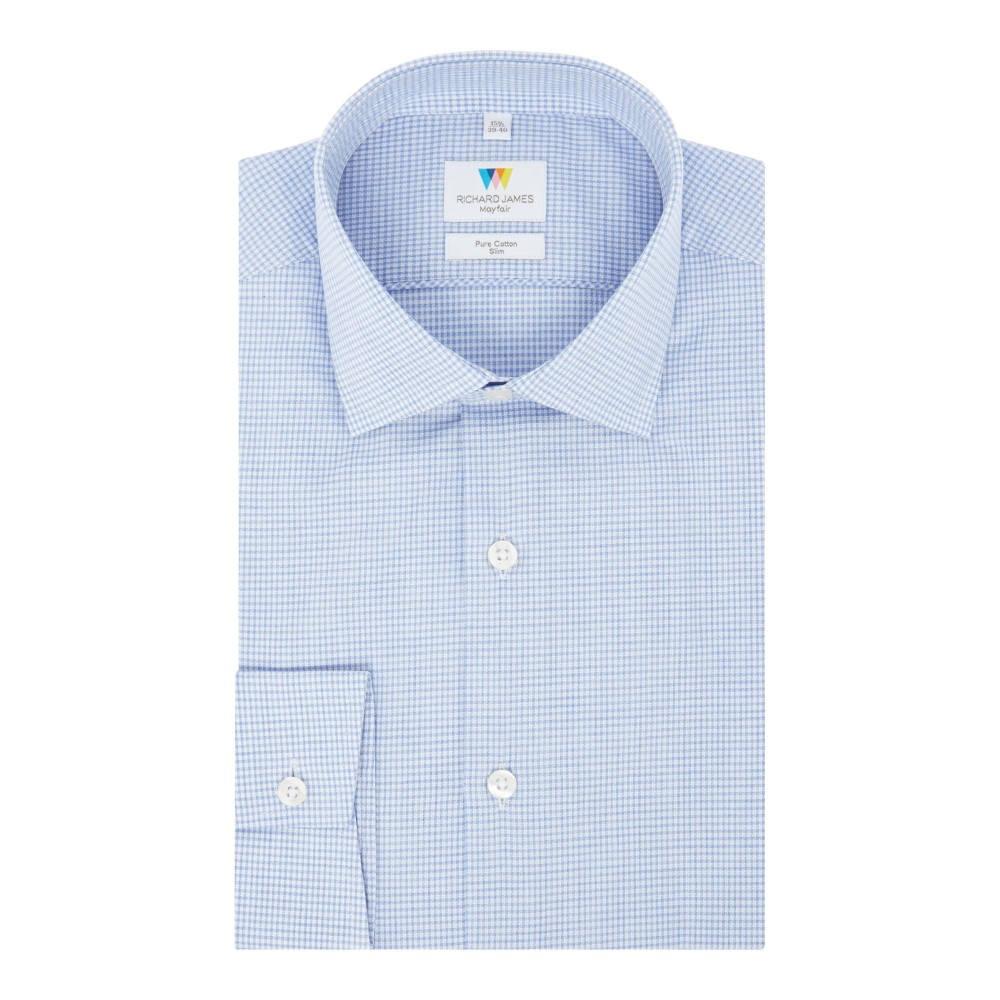 リチャード ジェームス メンズ トップス シャツ【Puppytooth Gingham Slim Fit Shirt】blue