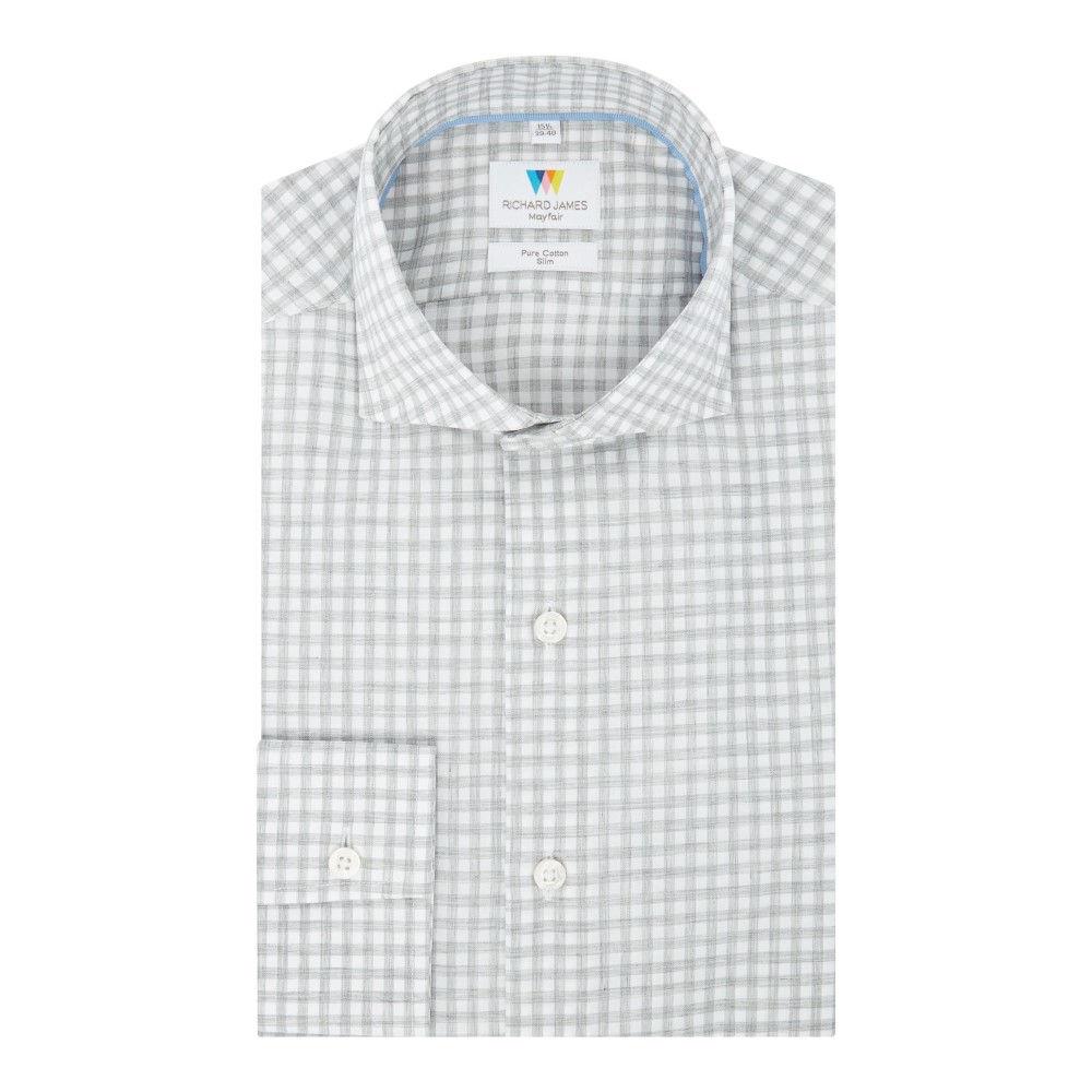リチャード ジェームス メンズ トップス シャツ【Melange Check Slim Fit Shirt】grey