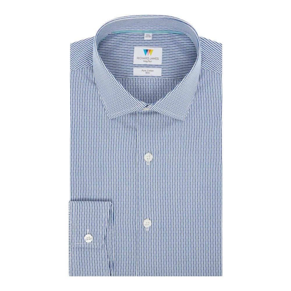 リチャード ジェームス メンズ トップス シャツ【Dobby Stripe Slim Fit Shirt】navy
