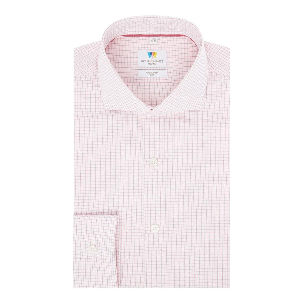 リチャード ジェームス メンズ トップス シャツ【Dobby Hairline Check Slim Fit Shirt】pink