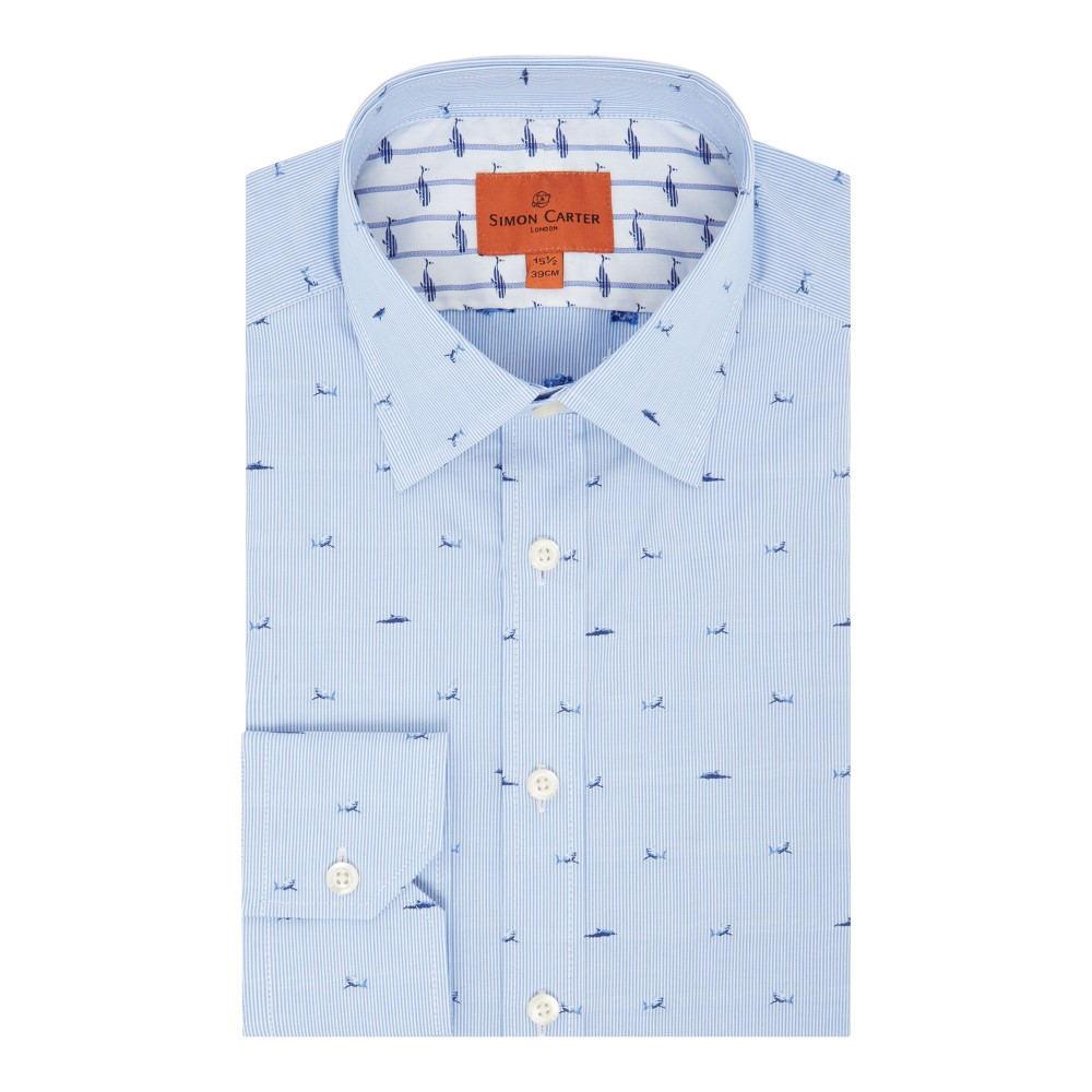 サイモン カーター メンズ トップス シャツ【Fine Stripe Shark Jacquard Shirt】blue