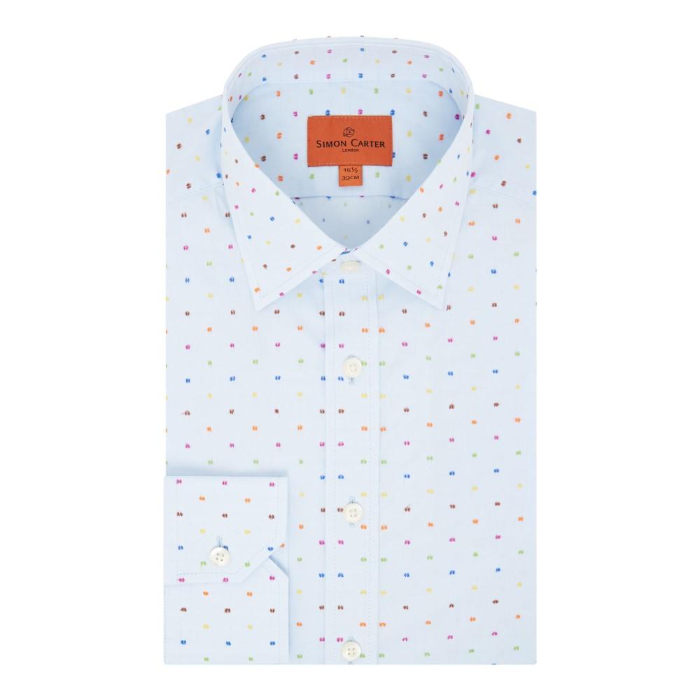 サイモン カーター メンズ トップス シャツ【Multi Dot Clip Dobby Shirt】sky