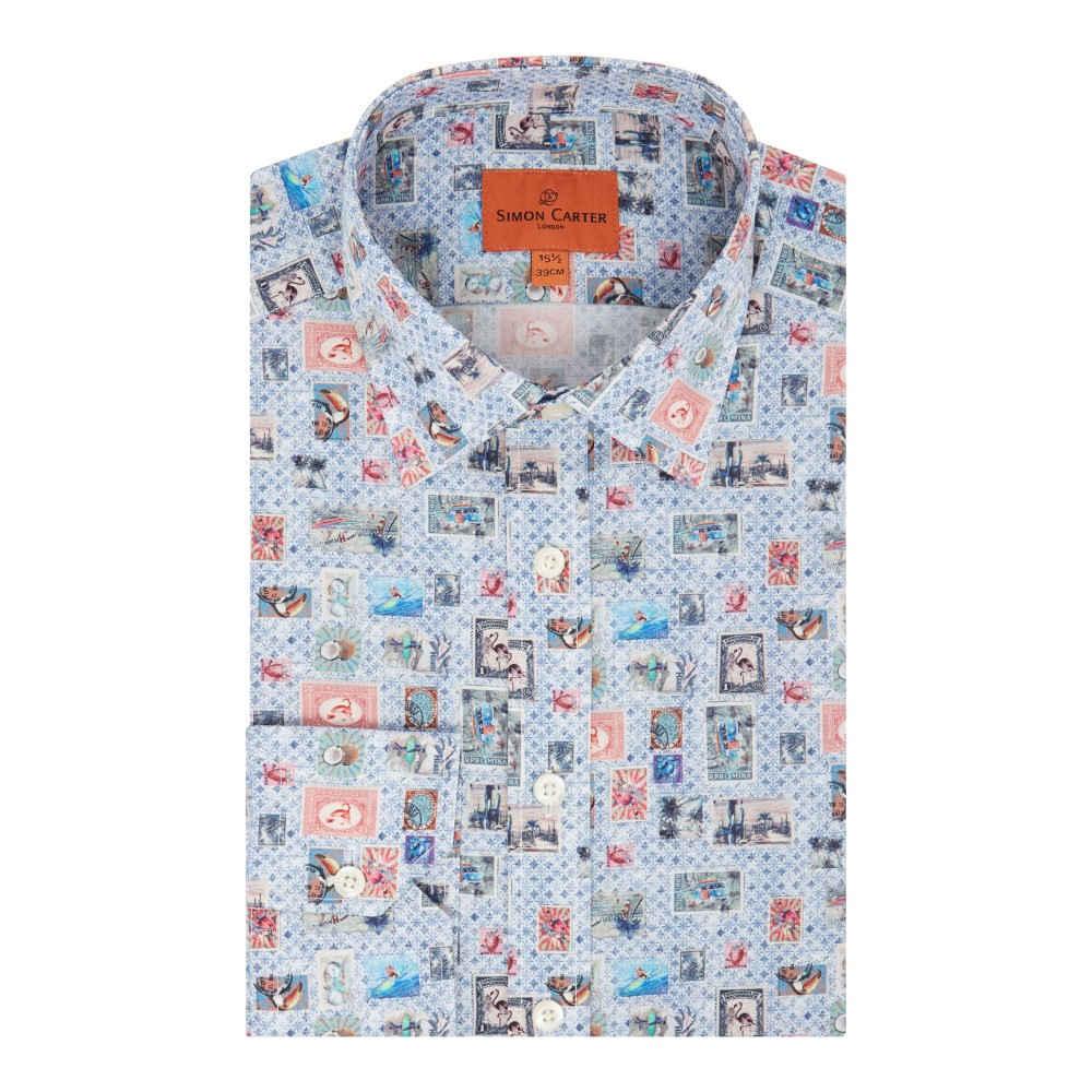 サイモン カーター メンズ トップス シャツ【Multi Stamp Print Shirt】blue