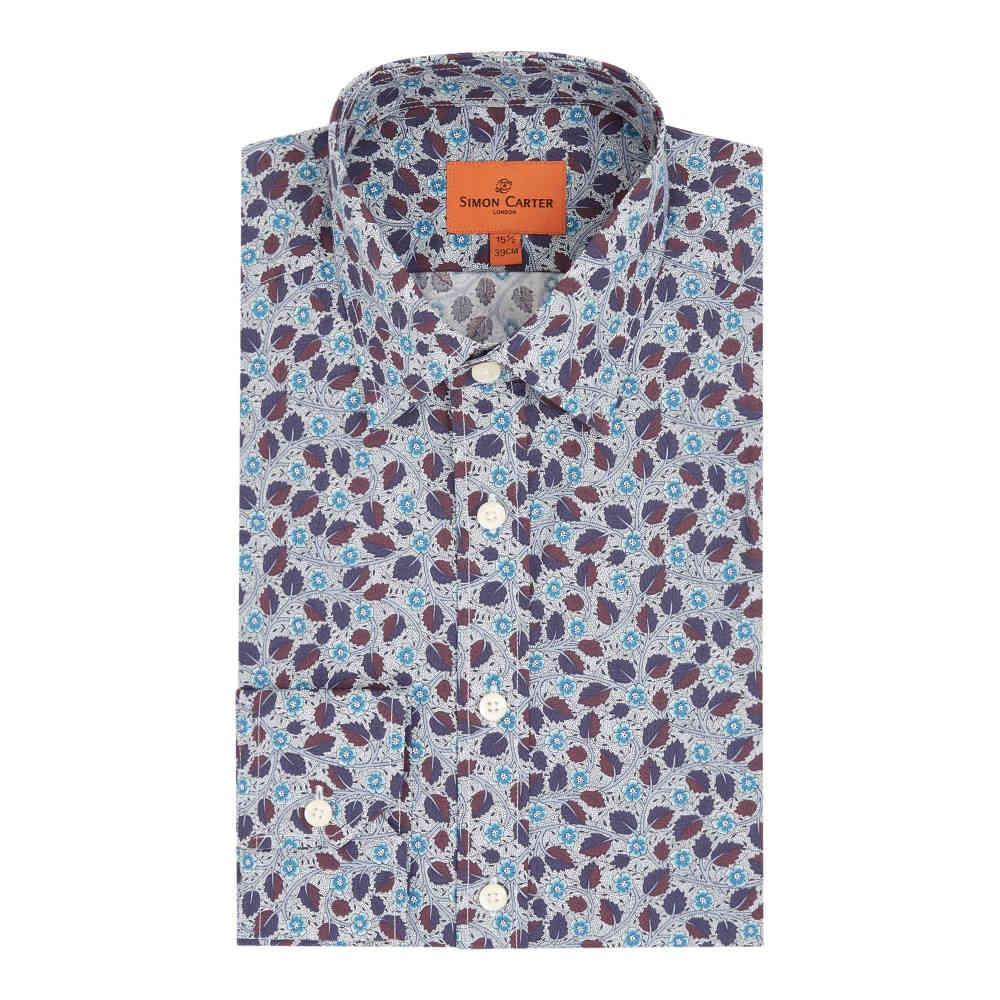 サイモン カーター メンズ トップス シャツ【Liberty Bramble Blossom Print Shirt】navy