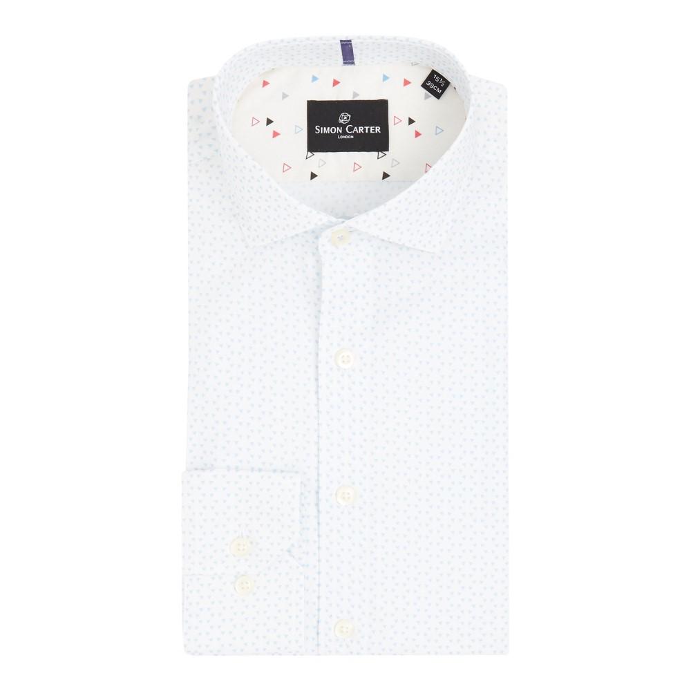 サイモン カーター メンズ トップス シャツ【Quilt Triangle Print Shirt】white