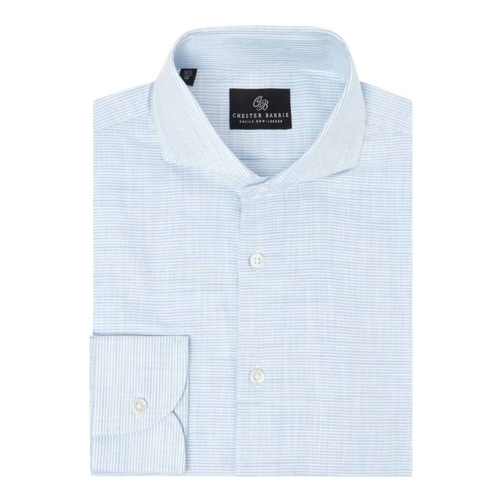 チェスター バリー メンズ トップス シャツ【Fine Horizontal Stripe Shirt】blue