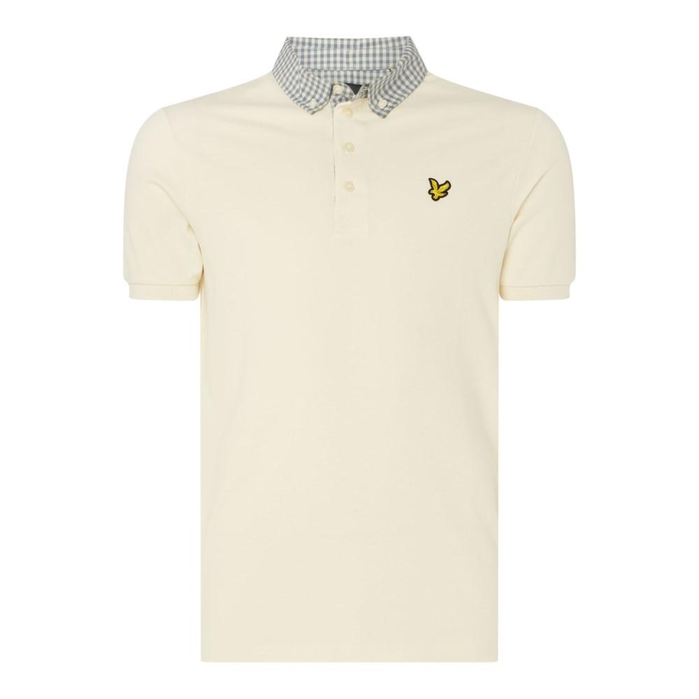 ライル アンド スコット メンズ トップス ポロシャツ【Check Woven Collar Polo Shirt】off white