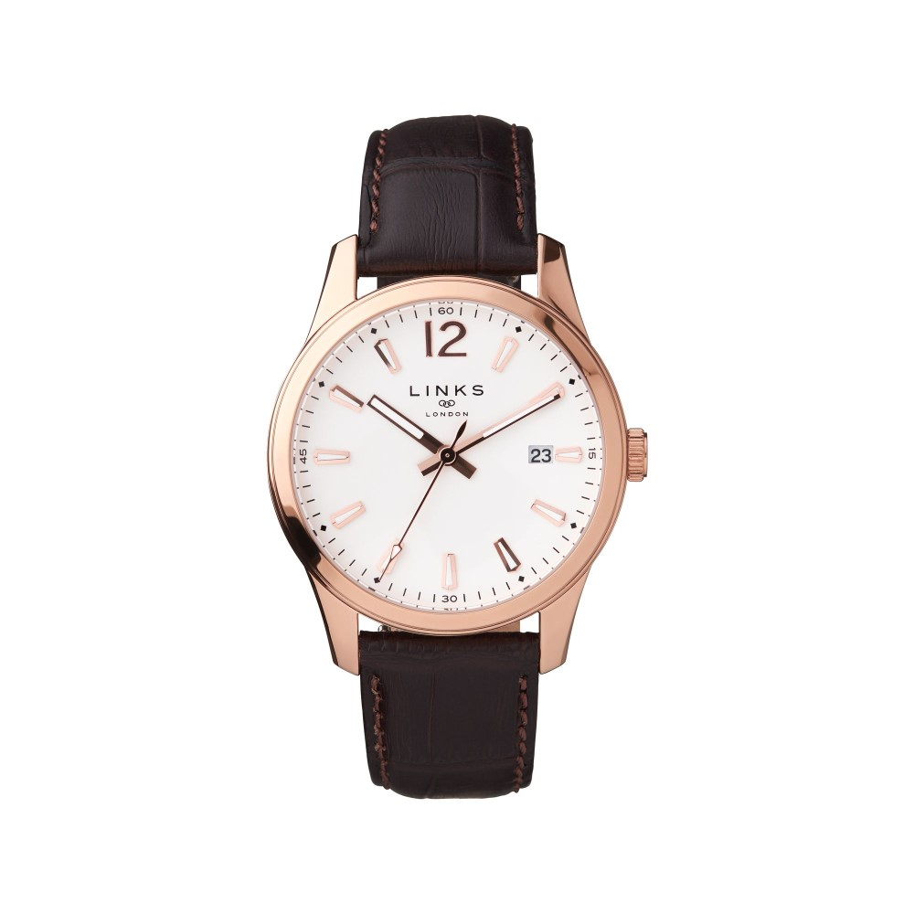 リンクス オブ ロンドン メンズ 腕時計【Greenwich Noon Brown Leather Watch】brown