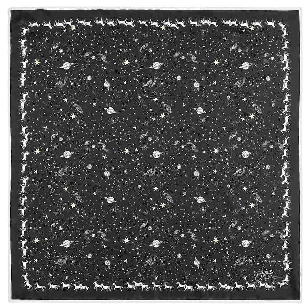 アスピナル オブ ロンドン レディース マフラー・スカーフ・ストール【Constellation Midnight Blue Silk Scarf】black