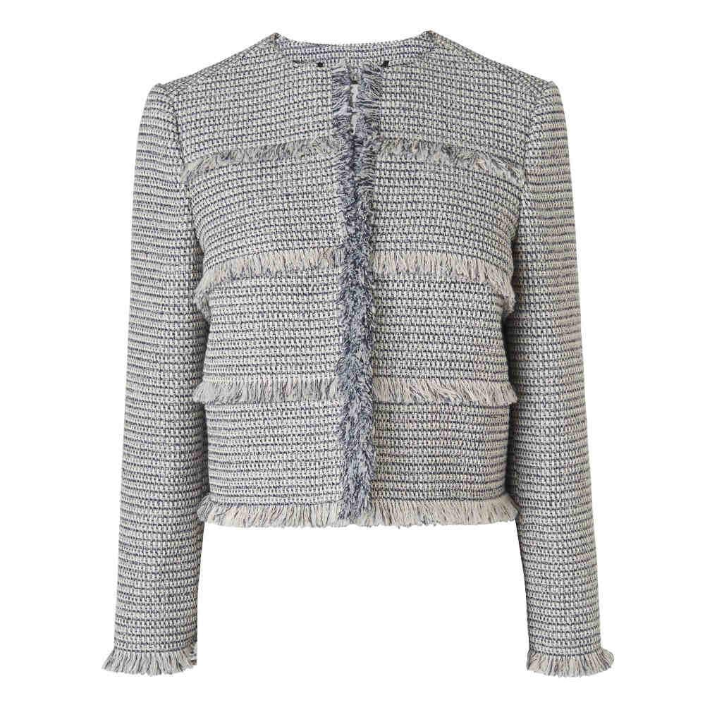 L.K.ベネット レディース アウター スーツ・ジャケット【Josie Cream Navy Cotton Jacket】multi-coloured