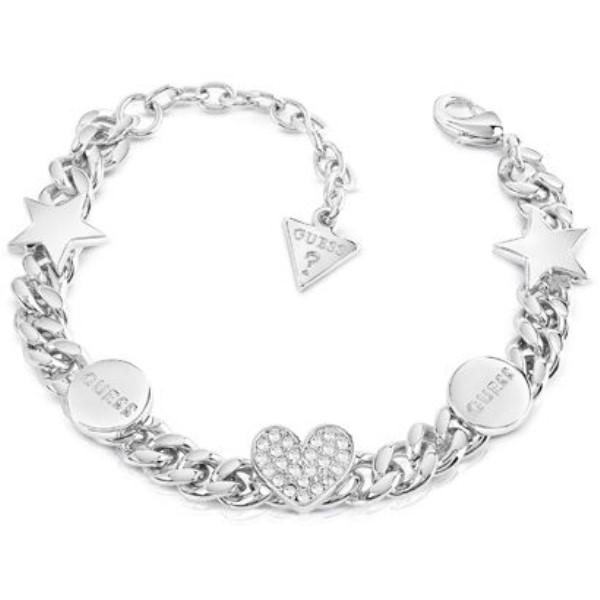ゲス レディース ジュエリー・アクセサリー ブレスレット【Love Chain Bracelet】silver