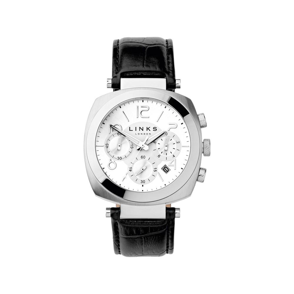 リンクス オブ ロンドン メンズ 腕時計【Brompton Black Strap Chronograph】silver