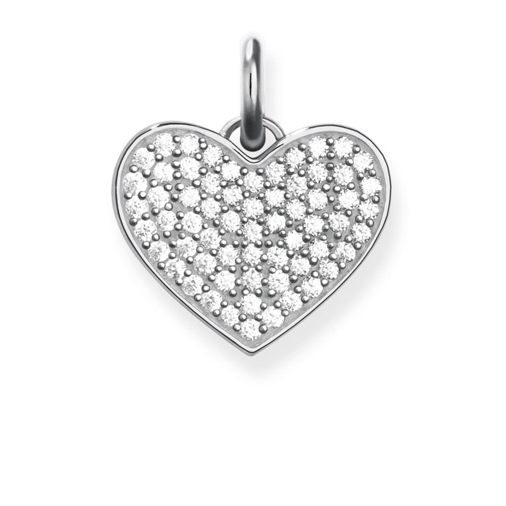 トーマスサボ レディース ジュエリー・アクセサリー【Love Coin Zirconia Pave Heart Pendant】white